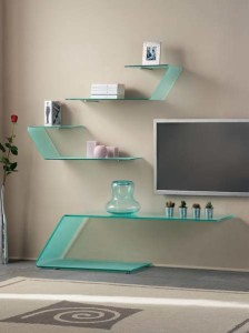 Glass shelves in the interior-2